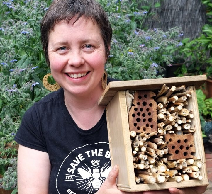 Katrina Forstner from Buzz&Digg with a bee hotel